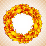 Floral wreath of yellow autumn leaves Royalty Free Stock Photo