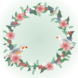Floral wreath with zebra finches birds. Flowers, leaves, berries and buds for printing, postcards, invitations, wallpapers, covers, calendars, textiles and Stock Images