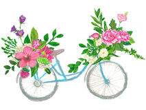 Floral wreaths on a bicycle hand painted with oil panda crayons Stock Photography