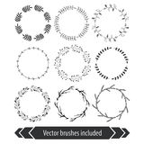 Floral wreaths. Floral brushes for wedding invitations and postcards design. Hand drawn decorative vintage floral wreath isolated on white background. Collection Royalty Free Stock Photo