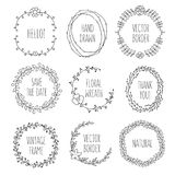 Floral wreaths collection. Vector vintage illustration. Vector vintage wreaths. Collection of trendy cute floral frames. Graphic design elements for wedding Stock Images