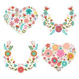 Floral wreaths and hearts collection Stock Photos