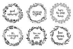 Floral wreaths with inspirational quotes. Botanical hand drawn d Stock Photography