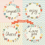 Floral wreaths in vector set Royalty Free Stock Images