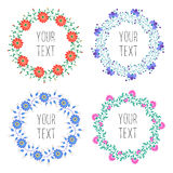 Floral wreaths. Vintage floral wreath with text  isolated on white background. Vector badges for logo design. Floral elements for wedding invitations and Royalty Free Stock Images