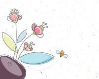 Floral y la abeja Imagen de archivo