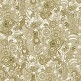 Floral yellow background. Seamless texture with flowers and gree Royalty Free Stock Image
