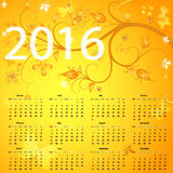 Floral yellow calendar for 2016. Floral yellow vintage calendar for 2016, vector eps 10 Stock Photos