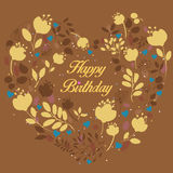 Floral yellow heart with text Happy Birthday Royalty Free Stock Photos