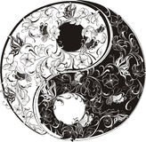 Floral Yin Yang symbol Stock Photos