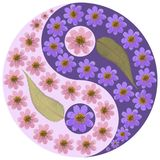 Floral Yin Yang symbol. Geometric Yin Yang symbol drawing made by plants on ultra-violet background in oriental style. Yin Yang symbol from dried pressed Stock Photos