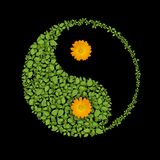 Floral yin yang symbol, harmonies icon Royalty Free Stock Photos
