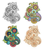 Floral zentangle, doodle henna paisley mehndi design element. Royalty Free Stock Photo