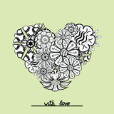Floral zentangle heart object in vector. Hand draw Royalty Free Stock Photos