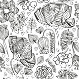 Floral zentangle seamless pattern. Adult antistress coloring pag Royalty Free Stock Photo