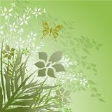 Floral110. Floral design with butterfly on a green background stock illustration