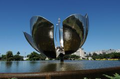 Floralis Genérica. A steel and aluminum sculpture built in 2002 by Eduardo Catalana. The movable sculpture is located in the United Nations Plaza in Buenos royalty free stock photography