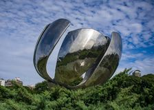 Floralis Genérica with clouds background stock photos