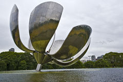 Floralis Generica of Buenos Aires. Floralis Generica is a metal sculpture located on the United Nations square of Buenos Aires, offered to the city by the Royalty Free Stock Photo