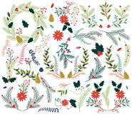 葡萄酒样式手拉的圣诞节假日Florals的传染媒介汇集 免版税库存图片
