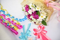 Florals background with colorful  ribbon. Pink red and white flowers set for lovers Stock Photo