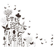 Florals and butterflies vector silhouette Royalty Free Stock Images
