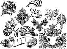 Florals ed il vettore dei rotoli hanno impostato 1 royalty illustrazione gratis