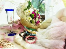 Florals on fur with Stone Jewelry Stock Image