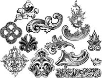 Florals and scrolls vector set 2