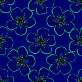 FloralVector. Repeating hand-drawn flowers on the blue background. Vector illustrration. 10 EPS Royalty Free Stock Photography