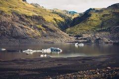 Floratingsijsbergen bij Sà ³ lheimajökull Royalty-vrije Stock Foto