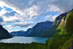 Flord between the mountains. Fjord between the mountain range in Norway Royalty Free Stock Images