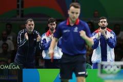 Flore Tristan che gioca ping-pong ai giochi olimpici a Rio 2016 Immagini Stock Libere da Diritti