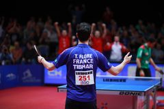 FLORE Tristan celebrate. FLORE Tristan from France celebrate at the 2017 European Championships - 1/2 Final royalty free stock images