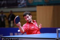 FLORE Tristan topspin. FLORE Tristan from France topspin at the 2017 European Championships - First Round - men groups royalty free stock images