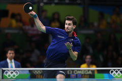Flore Tristan playing table tennis at the Olympic Games in Rio 2016. Royalty Free Stock Image