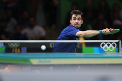 Flore Tristan playing table tennis at the Olympic Games in Rio 2016. Flore Tristan from France playing table tennis at the Olympic Games in Rio 2016 royalty free stock photography