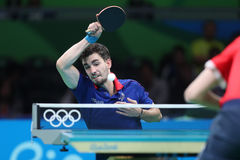 Flore Tristan playing table tennis at the Olympic Games in Rio 2016. Flore Tristan from France playing table tennis at the Olympic Games in Rio 2016 Stock Images