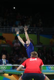 Flore Tristan playing table tennis at the Olympic Games in Rio 2016. Flore Tristan from France playing table tennis at the Olympic Games in Rio 2016 royalty free stock images