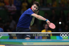 Flore Tristan playing table tennis at the Olympic Games in Rio 2016. Flore Tristan from France playing table tennis at the Olympic Games in Rio 2016 Stock Photography
