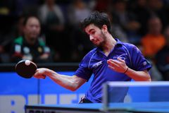 FLORE Tristan topspin. FLORE Tristan from France topspin at the 2017 European Championships - 1/2 Final stock photo