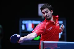 FLORE Tristan topspin. FLORE Tristan from France topspin at the 2017 European Championships - First Round - men groups stock photography