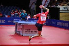 FLORE Tristan topspin. FLORE Tristan from France topspin at the 2017 European Championships - First Round - men groups royalty free stock image