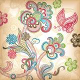 Floreale astratto e farfalla illustrazione vettoriale