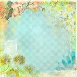 Floreale blu del fondo della carta di lerciume di ora del the di Boho Fotografia Stock Libera da Diritti