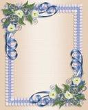 Floreale blu dell'invito di cerimonia nuziale Immagine Stock Libera da Diritti