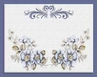 Floreale blu dell'invito su tela di canapa Immagini Stock Libere da Diritti