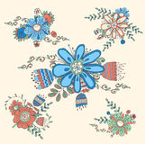 Floreale disegnato a mano d'annata Fotografie Stock Libere da Diritti