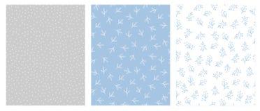 Floreale disegnato a mano e Dots Abstract Vector Patterns Progettazione blu-chiaro, di Grey e di bianco royalty illustrazione gratis