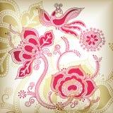 Floreale ed uccello royalty illustrazione gratis